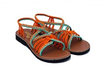 Je L'aime - Lily Coral Brown (sandals,handmade,braided ,rope,flip flops,gladiator,ibiza,bohemian,greek,thongs,barefoot,wedges,lace)