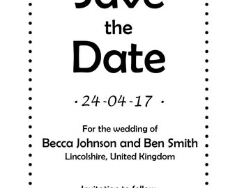 Save the dates Cute - Download - All 5 Colours
