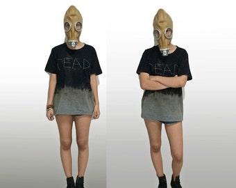 DEAD T-shirt Black - Handmade Vintage Grunge Bleached Dyed