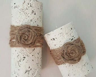 Old World Rustic Shabby Chic Decorative Candles Burlap Twine Decor Gift Set of 2