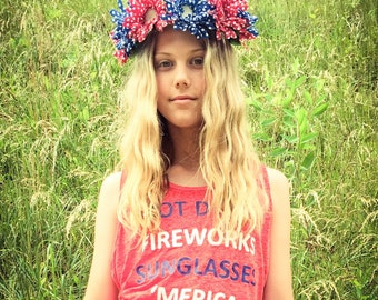 America/4th ofJuly/ 15% of each FREEDOM CROWN purchased will be donated to the Wounded Warrior Foundation! Flower crown/USA/Red White Blue