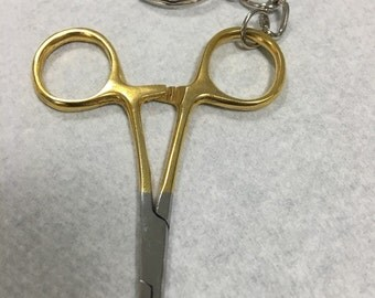 Gold handle mini needle deiver keychain