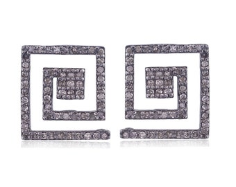 Pave Diamond Stud Earrings White Diamond stud earrings 14mm Square  stud earring