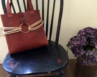 Emeny Dark Leather Rope Accented Handbag