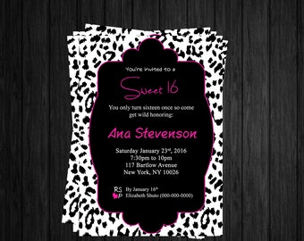Sweet 16 Invitation/ Printable Front & Backview