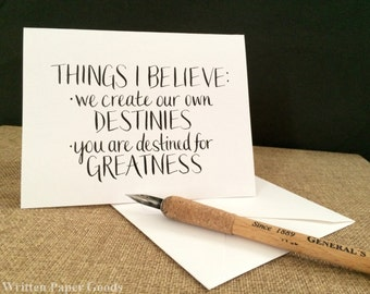 We Create Our Own Destinies Card - Congratulations - Graduation - A Handmade Card for a Person Who Amazes You
