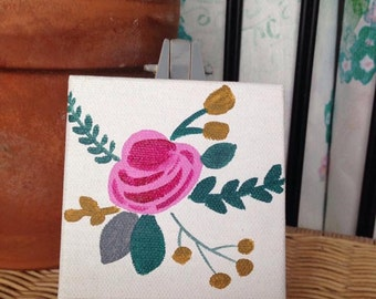 Floral Mini-Canvas and Easel Set in Grey