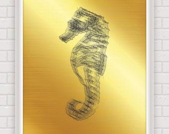 Digital download, seahorse, nautical decor, nursery art, sea, ocean