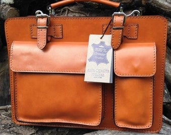 Hand Made Italian Leather Tan Briefcase Laptop Satchel Portfolio Messenger Bag Real Leather Office Case Attache