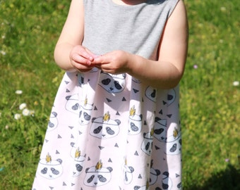Organic Perfect Panda Pink Summer dress with contrast grey