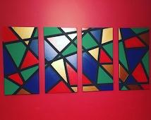 Asymmetrical Acrylic Gallery Wrapped Canvas Original Wall Art