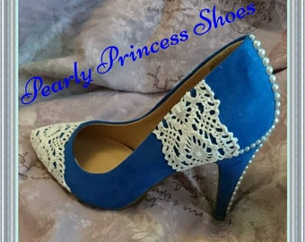 Royal blue lace and pearl wedding shoes