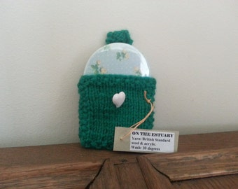 Small Handmade Compact Mirror with Cath Kidston Paper in Knitted Pocket & Heart Button