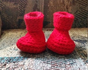 Red Crochet Baby Booties