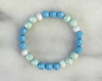 Blue and Green Beaded Bracelet