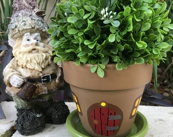 Gnome Home Hand Painted Flower Pot
