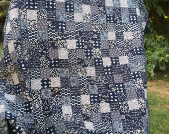 Japanese indigo and bone print patchwork quilt