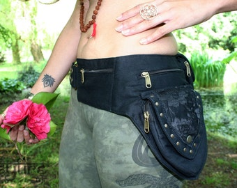 BLACK LACE Festival Utility Belt - Festival Belt, Hippy Fanny Pack, Boho Pocket Belt, Psy Belt, Hippie Hip Bag, Travel Belt, Psytrance Belt