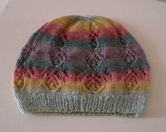 Lace Hat Knitting Pattern sock yarn hat ladies hat lace