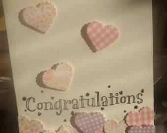 Heart wedding/engagement congratulations card