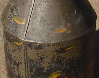 Tapered Antique Tole Ware Jar with original cap