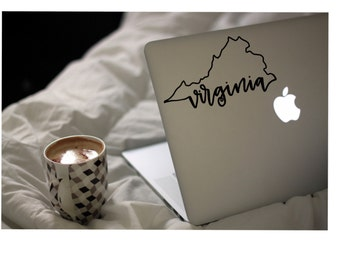 Virginia Outline Vinyl Decal Sticker! | Va is for lovers | Gift | 5 inches wide | laptop sticker | Car Sticker | Yeti