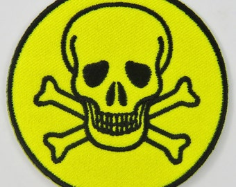 Skull & Cross Bones Symbol/Sign (Yellow) Iron On/ Sew On Cloth Patch Badge Appliqué cybergoth cyber punk goth rocker emo rave Size: 6.8cm