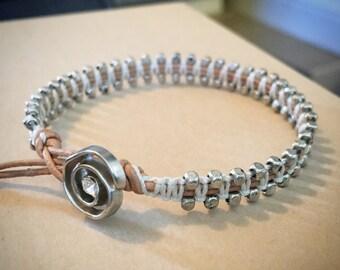 Silver and white wrap bracelet, Leather bracelet, metal beaded bracelet, chan luu inspired, silver rose button