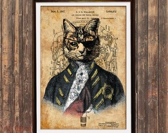 Cat art Steampunk print Patent print Animal poster SOL13
