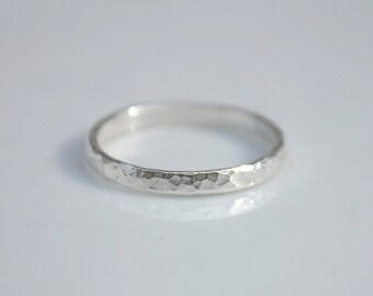 Textured Sterling Silver Thin Band Ring