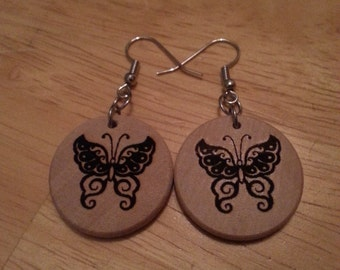 "Wood 1"" Round shape Butterfly 1 earrings, surgical steel fish hook, essential oil diffuser"