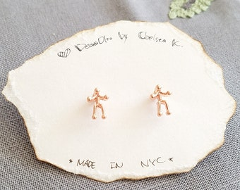 Cute, Tiny, Dainty Man Person Stand Stud Brass Bird Earrings Simple everyday wear