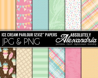 Ice Cream Parlour Digital Papers - Personal & Commercial Use - Summer Birthday Party Paper, Graphics, Patterns, Scrapbook Page Kit
