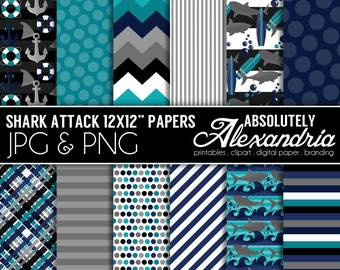 Shark Attack Digital Papers - Personal & Commercial Use - Ocean, Shark Animal Graphics, Patterns, Shark Week Party Scrapbook Page Kit