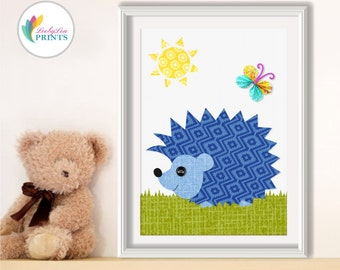 Blue Hedgehog Nursery Art Print, Hedgehog Print, Boys Bedroom Print, Boys Nursery Print, Blue Nursery Print, Baby Boys Print