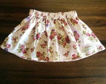 Girls Pink Floral Gathered Waist Skirt