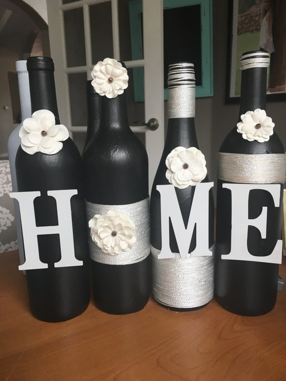 Items similar to home wine bottle decor home wine bottles for Wine shop decoration