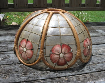 Vintage Capiz Shell and Bamboo Light Shade