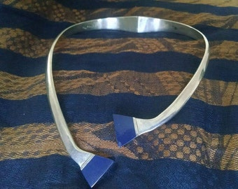 Vintage Sterling Lapis Mexico Necklace 98g.