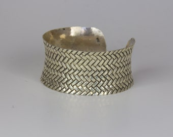 Textured sterling silver cuff
