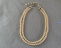1950's Double Strand Faux Pearl with Rhinestone Clasp