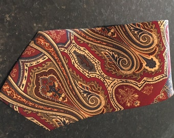 Christian Dior, Mens Necktie, Multicolor, Paisley, 100% Silk