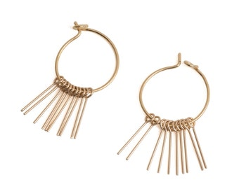 Small hoops thin fringes, gold plated