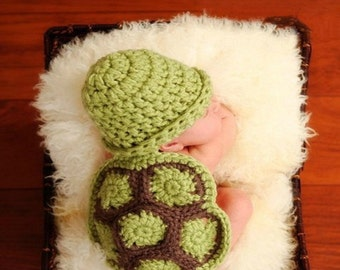 Newborn baby photo prop, turtle newborn baby hat and body cover, photography props, baby hat, newborn hat, baby knit hat, newborn prop