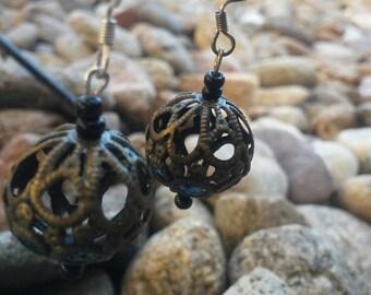 Brass Ball Dangle Earring