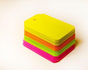 Paper Tags, Neon Colors, 64 Pieces