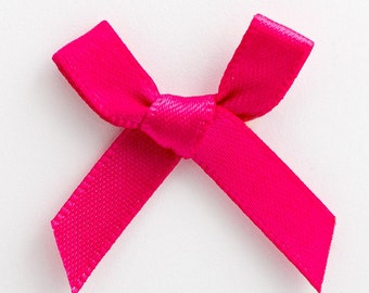 Satin Ribbon Pre Tied 3cm Bows - 100 Pack - Cerise Pink