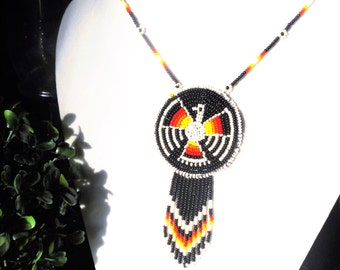 Native American Beaded Tribal Thunder Bird Medallion