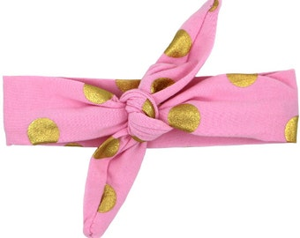 Light Pink & Gold Polka Dot Top Knot Headband