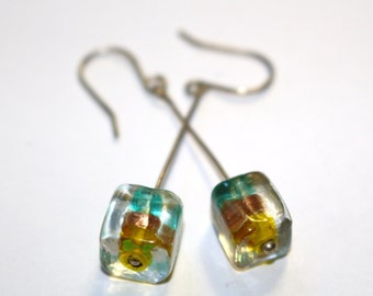 Clear Cube with Blue and Yellow Inside Earrings